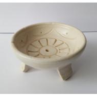 Räucherstäbchenhalter- Schale -  Keramik - Creme  rund