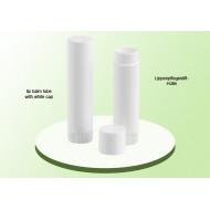 Lippenpflegestift aus PP 6ml Aussenhülse, Sockel und Spindel weiss