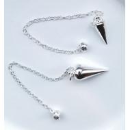 Tropfen Pendel - groß mit Kette - Weißmetall (Silber)