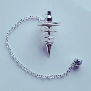 Spiral Pendel - mit Kette - Weißmetall (Silber)