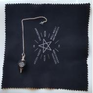 Pentagramm Pendel - mit Kette - Turmalin schwarz + Board