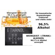 Weingeist 96,5% Ethanol Trinkalkohol unvergällt Kosmetik Mäc Spice